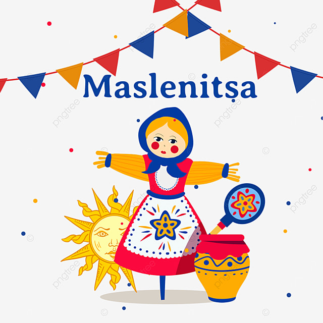 painted straw dolls and pottery pots for russian maslenitsa