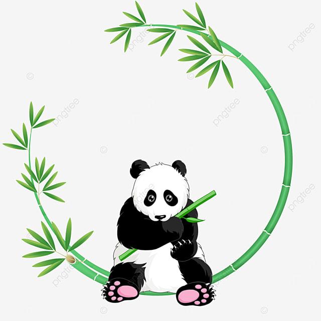 panda bamboo floral border beckoning with bamboo