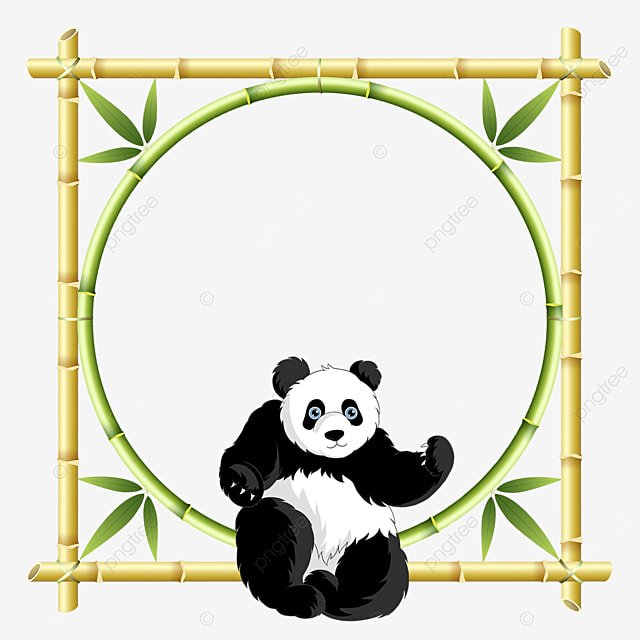 panda bamboo floral border sitting on bamboo