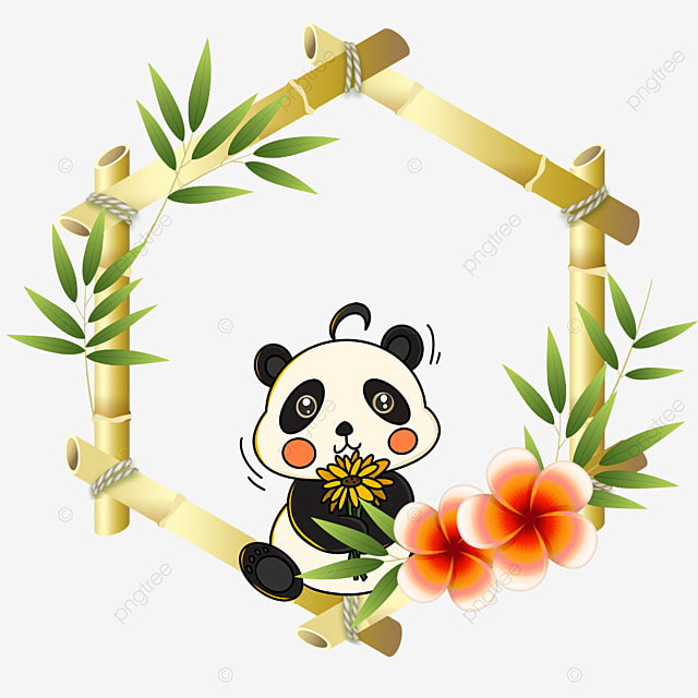 panda bamboo floral border with bouquet