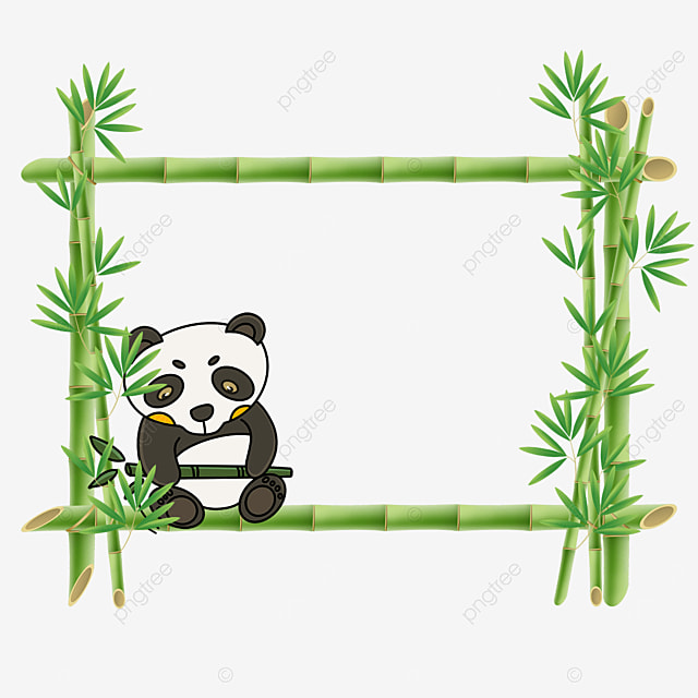 panda bamboo flower border holding bamboo