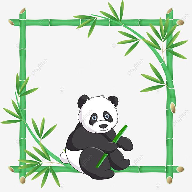 panda bamboo flower border sitting with bamboo