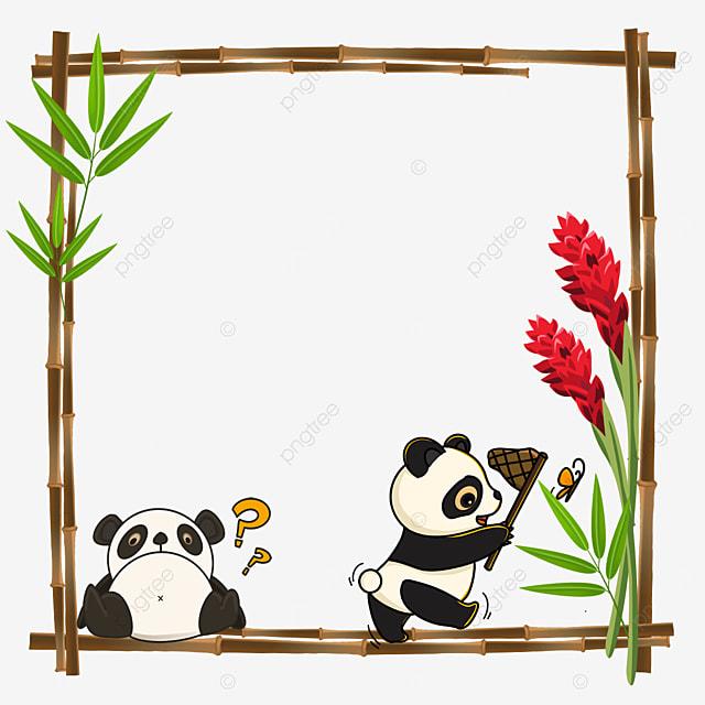 panda catching butterflies playing bamboo flower border