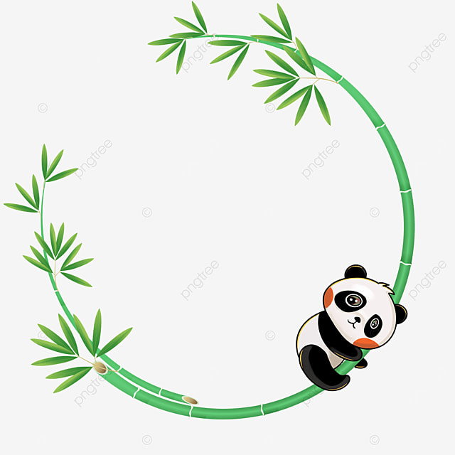 panda climbing bamboo green bamboo floral border