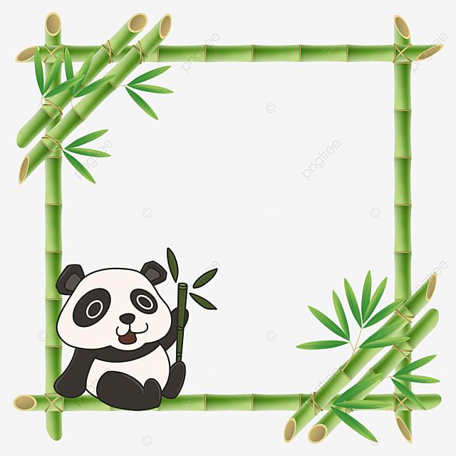 panda floral border holding bamboo