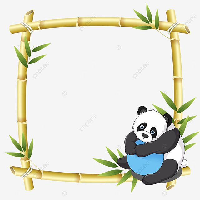 panda holding a ball bamboo floral border