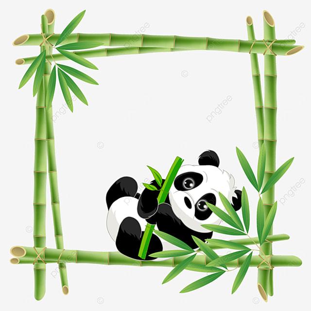 panda holding bamboo bamboo flower border