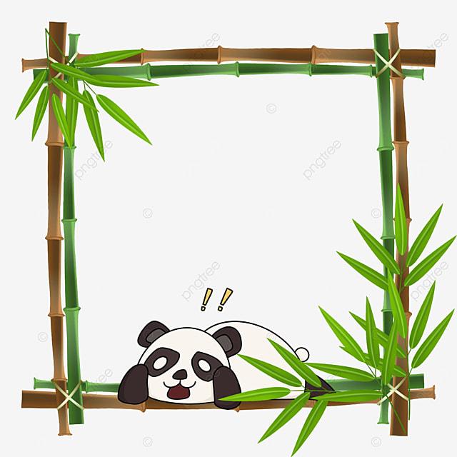 panda lying on bamboo square bamboo floral border