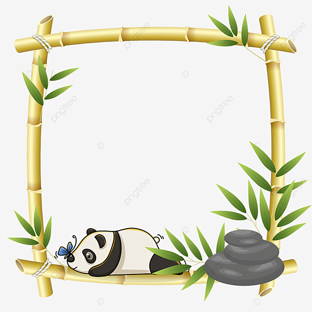 panda lying on bamboo square floral border