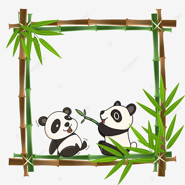 panda playing bamboo flower border