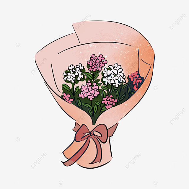 pink hyacinth flower bow bouquet clipart