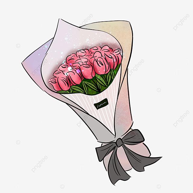 pink rose flower bow bouquet clipart
