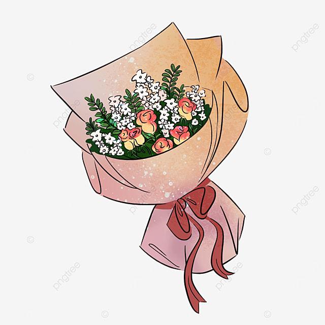 pink rose flower cream flower bouquet clipart