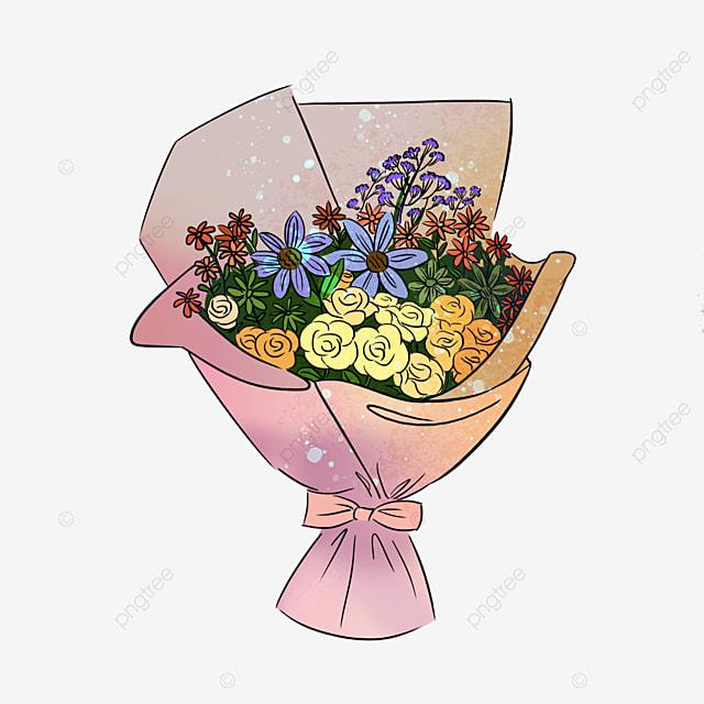 pink yellow rose sun flower bouquet clipart