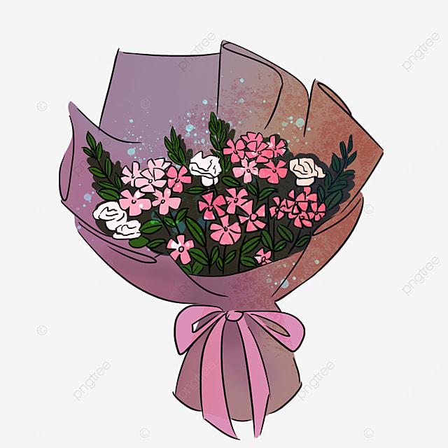 purple cherry blossom white rose bouquet clipart