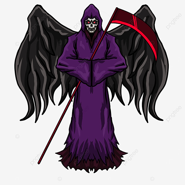 purple clothes black wings red sickle grim reaper clipart