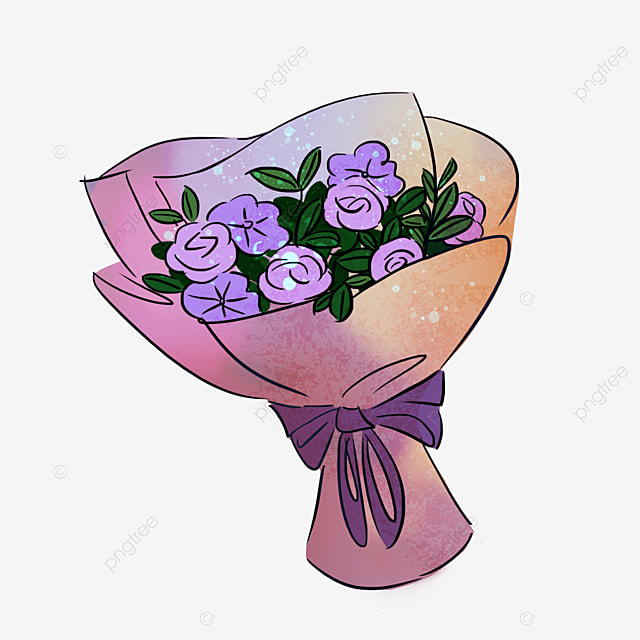 purple rose flower leaf bouquet clipart