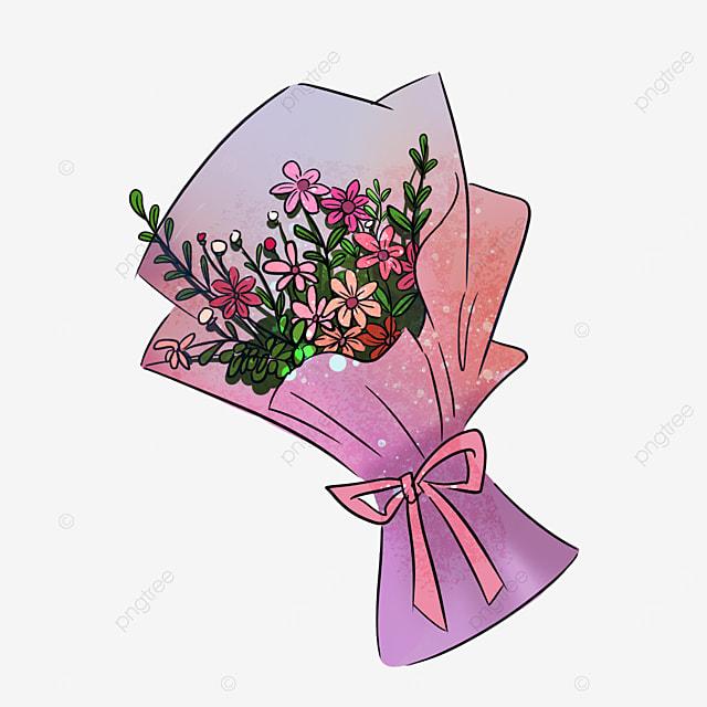 purple sakura sun flower bouquet clip art