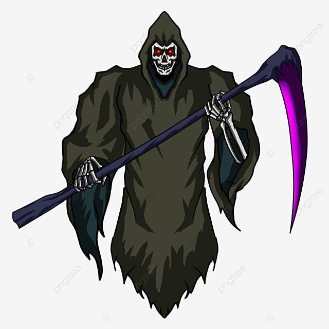 red eye purple scythe grim reaper clip art