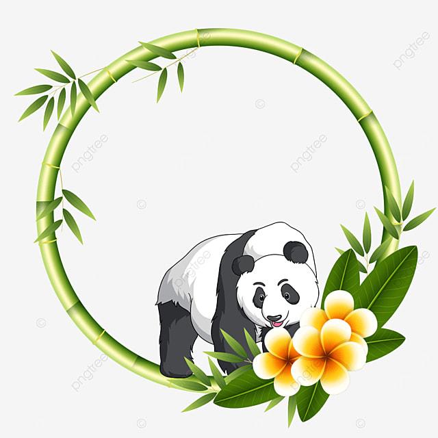 round flower viewing panda bamboo floral border