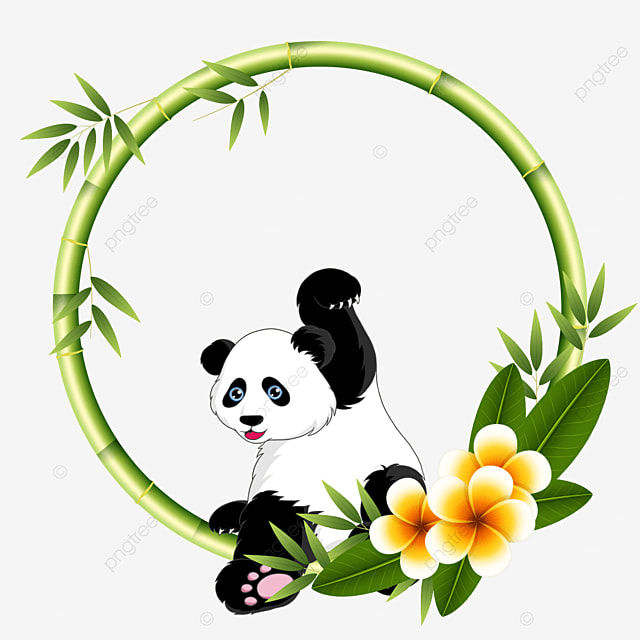 round panda bamboo floral border