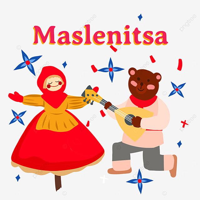 russian maslenitsa bear and red dress doll illustration