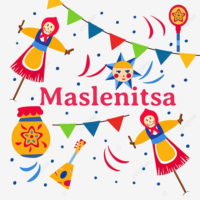 russian maslenitsa doll and bunting illustration