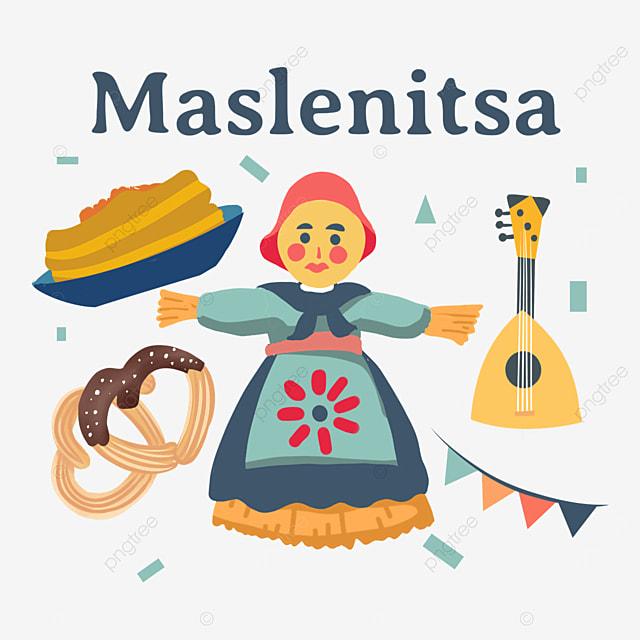 russian maslenitsa doll and knot cake illustration