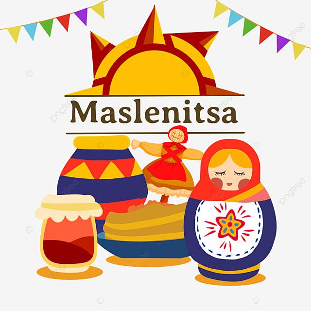 russian maslenitsa flat style matryoshka and clay pot illustration