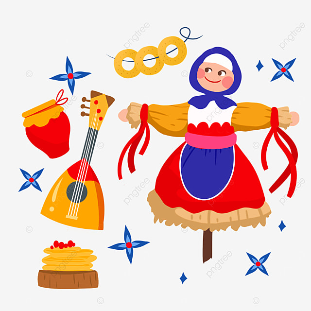 russian maslenitsa musical instrument and scarecrow illustration