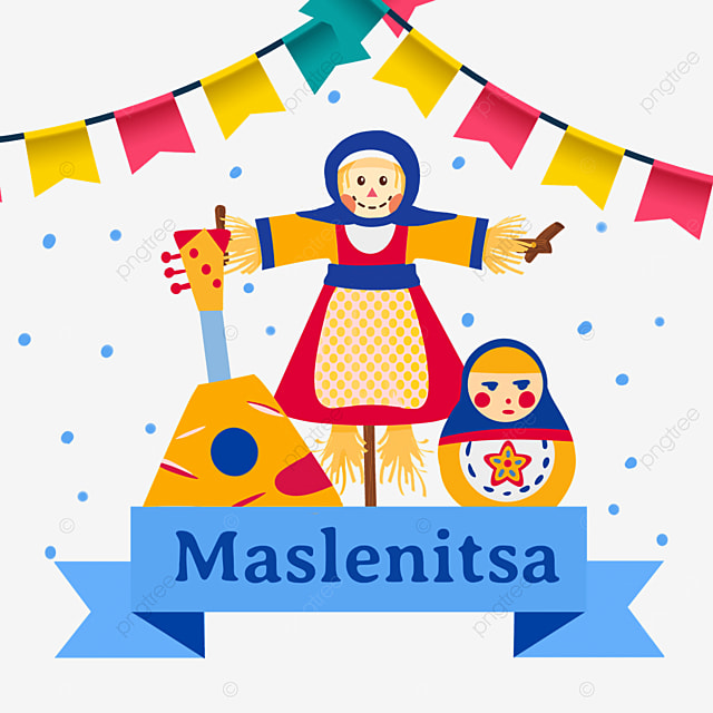 russian maslenitsa musical matryoshka and scarecrow illustration
