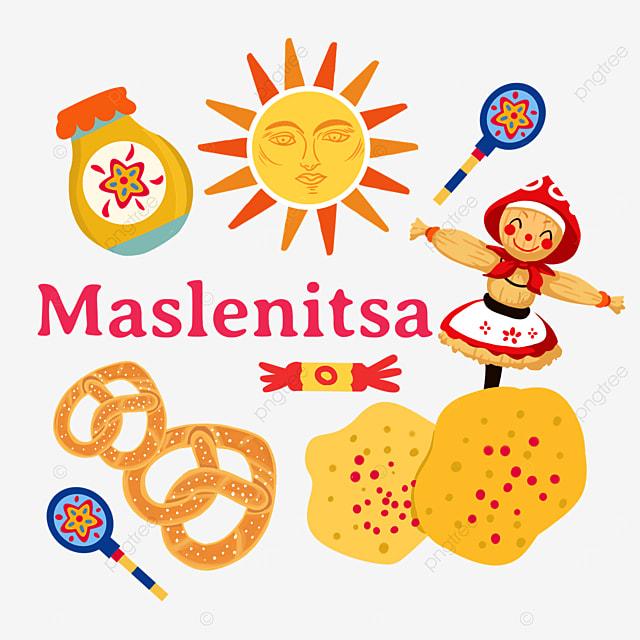 russian maslenitsa pancake and knot cake illustration