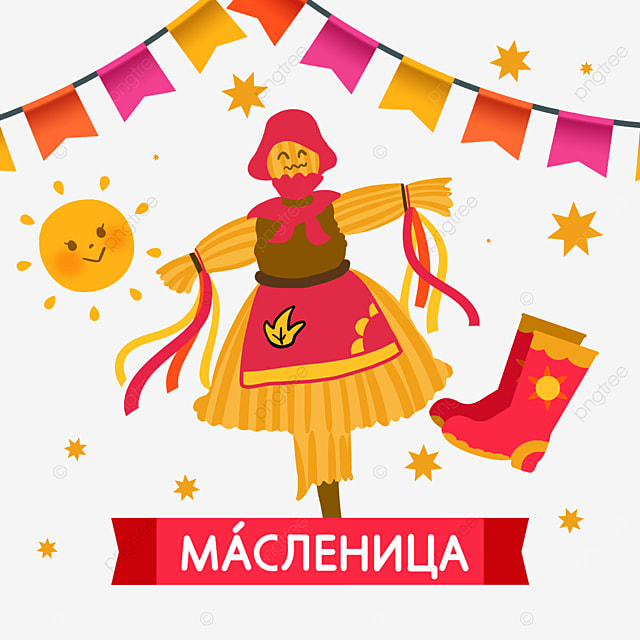 russian maslenitsa send winter festival textured bunting and scarecrow illustration