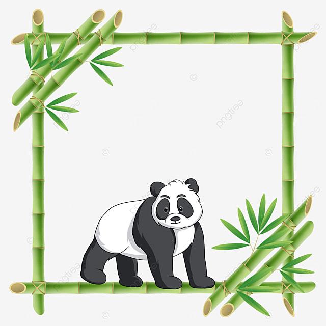 standing panda square bamboo floral border