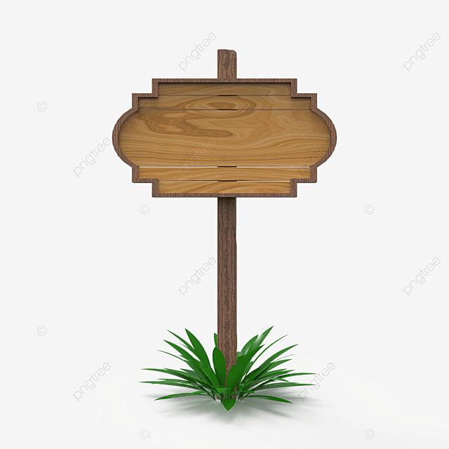 wooden sign 3d render