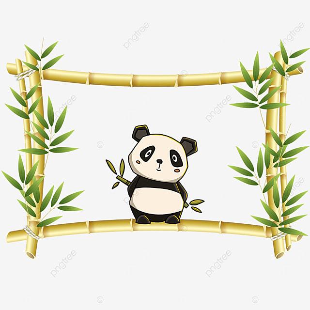 yellow panda bamboo floral border