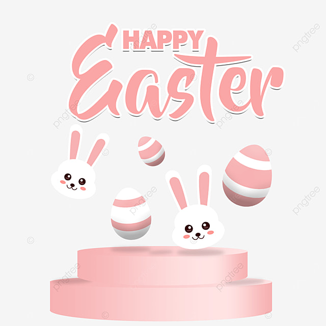 pngtree happy easter 2021 pink stage cute bunny and egg png image 2895259