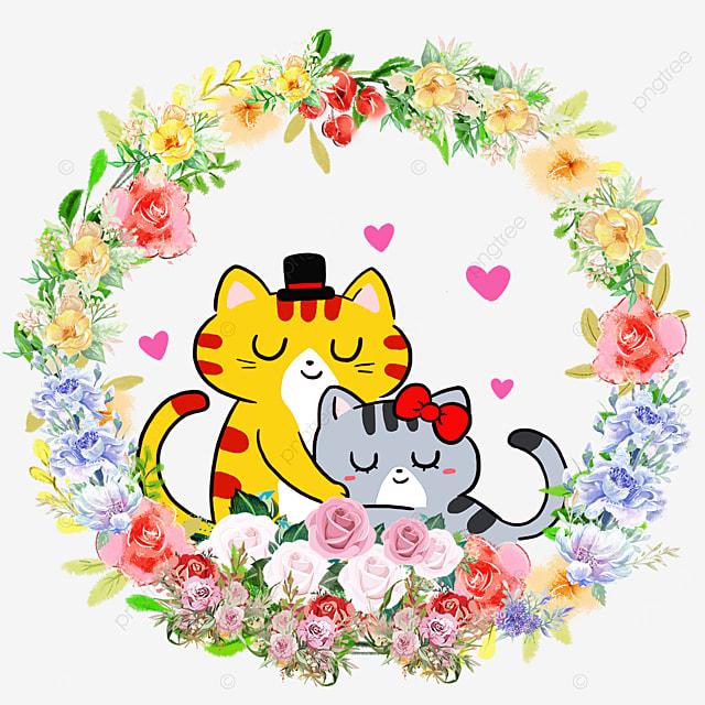 animal couple kitten flower wreath