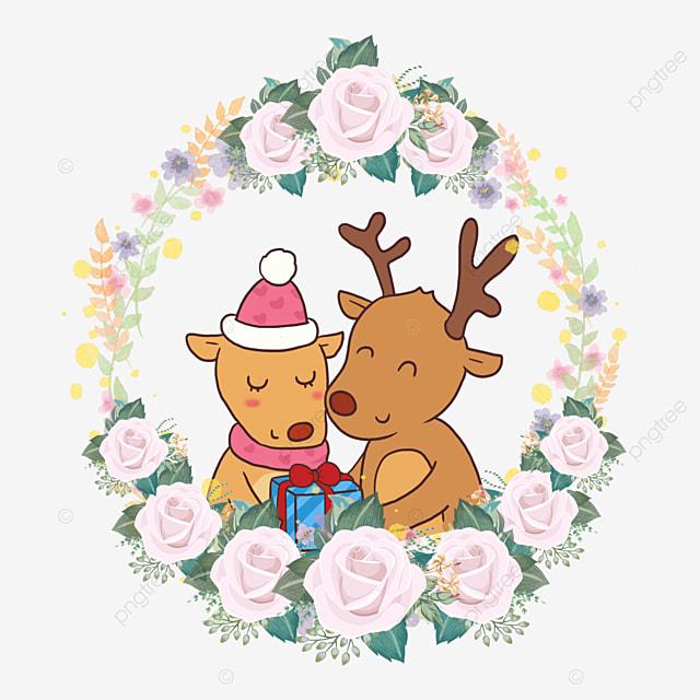 animal couple rose flower wreath