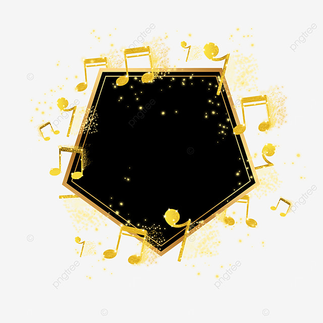 black and gold color notes surround frame