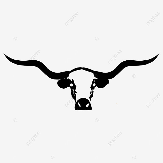 black and white longhorn bull head clipart