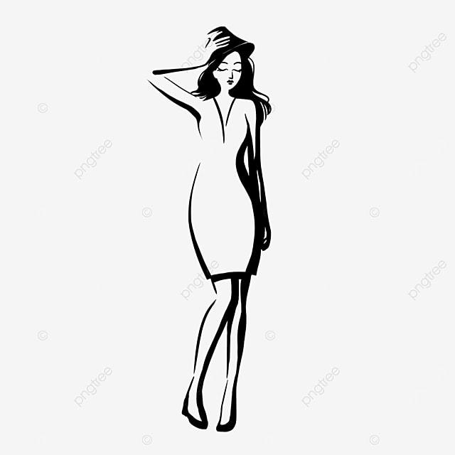 black curly hair bag hip skirt girl model clipart