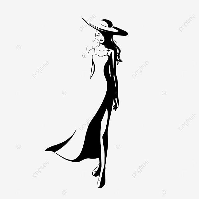 black curly hair long dress girl model clipart