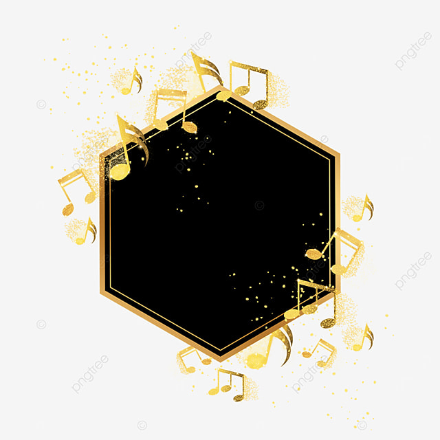 black gold abstract musical note pattern border