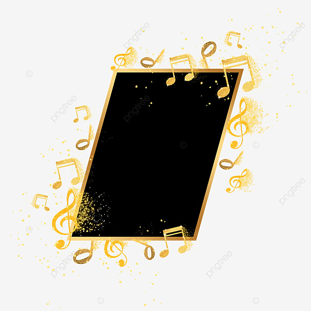 black gold gradient musical note icon abstract border