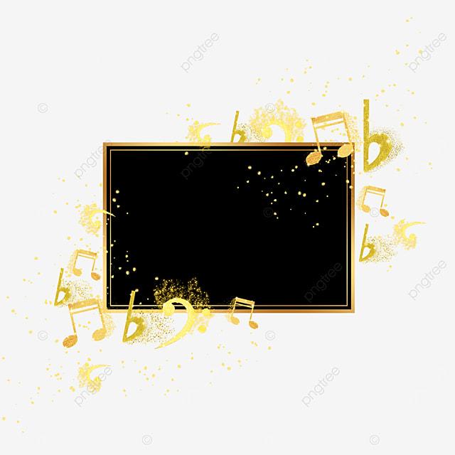 black gold gradient note pattern floating border