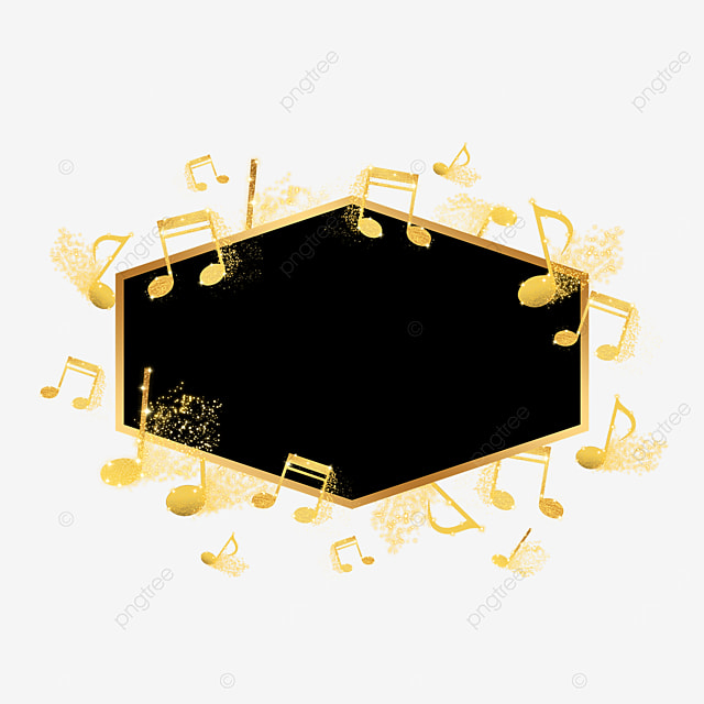black gold music notes decorative abstract border