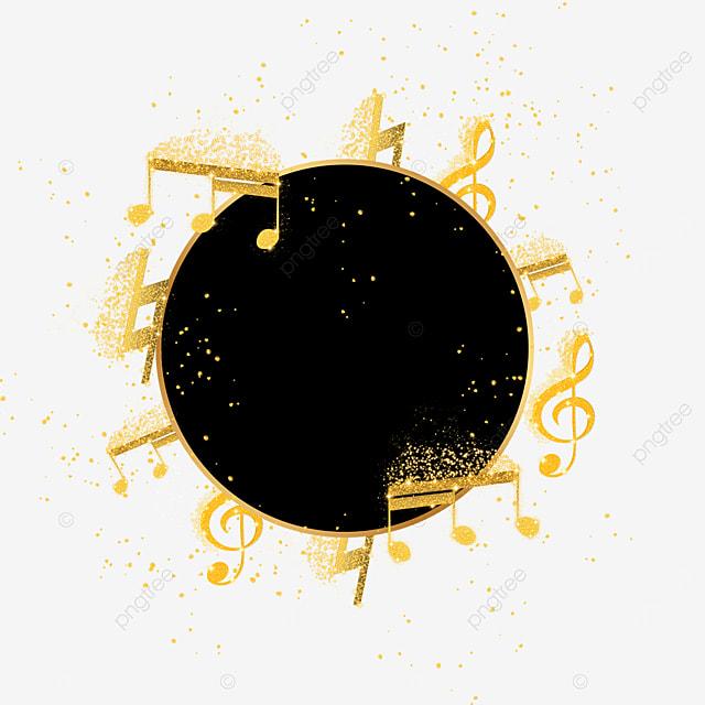 black gold music notes round border