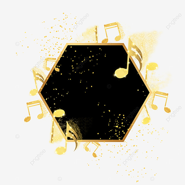 black gold musical note icon floating border