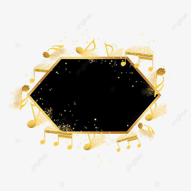 black gold musical notes decorative border gold powder